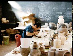 Geoff McFetridge photographed by Andrew Paynter, Heath Ceramics studio
