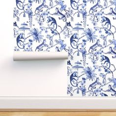 Peel & Stick Wallpaper Swatch - Flowers Floral Branches Monkey Leopard Umbrella Custom Removable Wallpaper by Spoonflower