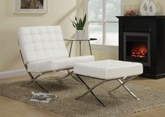 Contemporary chair and matching ottoman with white leather-like vinyl cushions and chrome legs.