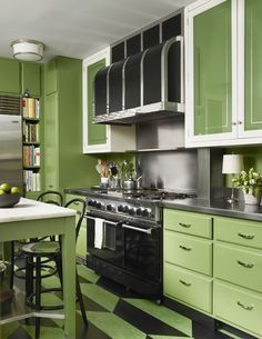 Are you searching for Green Kitchen Cabinets Ideas and inspiration? Browse our photo gallery and selection of green kitchen cabinet. Find and save ideas about green kitchen cabinet in this article. Green Kitchen Cabinets, Farmhouse Kitchen Cabinets, Kitchen Cabinet Design, Interior Design Kitchen, Interior Paint, Modern Interior, Apple Green Kitchen, American Interior, Kitchen Cupboard