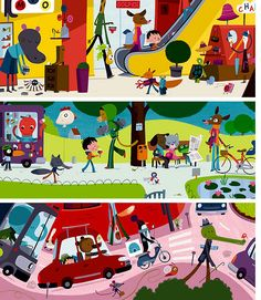 Vincent Mathy's illustrations. Whimsical, colourful and retro-inspired.