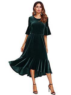 ec60f414fe online shopping for Floerns Women s Trumpet Sleeve Flounce Ruffle Hem  Velvet Midi Dress from top store. See new offer for Floerns Women s Trumpet  Sleeve ...