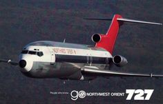Northwest Orient Boeing 727-251/Adv N295US in a promotional image for the airline. Northwest was the first of the major U.S. airlines to retire the Boeing 727 with service ending in 2003.