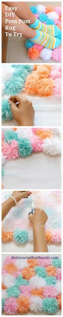 The best DIY projects & DIY ideas and tutorials: sewing, paper craft, DIY. Diy Crafts Ideas Make a Pom Poms Rug: Adorable Home Decor -Read Homemade Rugs, Homemade Home Decor, Crafts To Do, Yarn Crafts, Diy Deco Rangement, Tapetes Diy, Craft Projects, Sewing Projects, Pom Pom Crafts