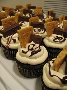 Smores cupcakes - Great for preparing for camping trip.  When making the sit-upons etc.