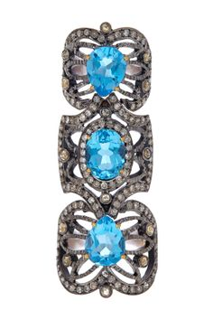 Blue Topaz Pave Diamond Filigree Double Ring - Size 6.5 on HauteLook