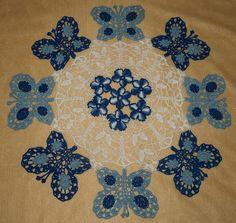 Butterfly Butterflies and Flowers Crochet Doily Pattern by vjf25, $4.95