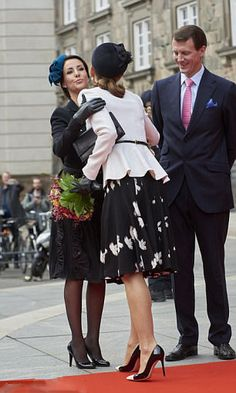 (L) Princesses Marie of Denmark and Crown Princess Mary of Denmark (R)  greet each other as Prince Joachim of Denmark looks on, during their arrival to the Parliament to celebrate the Reformation's 500th anniversary on October 31, 2017 in Copenhagen, Denmark.