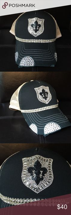Black bling trucker hat Black bling shield trucker hat. Rhinestone trim. Beige mesh for backing. Perfect for any occasion. Accessories Hats