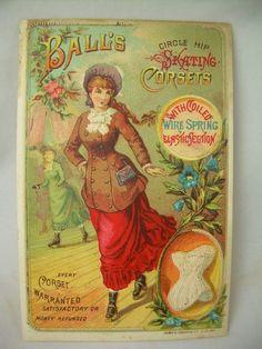 Ball's Circle Hip Skating Corset Antique ROLLER SKATING Victorian Trade Card