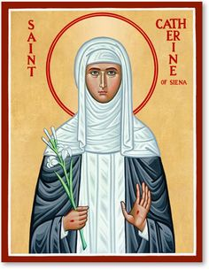 Discover the finest icons of women saints and other Catholic icons such as this St. Catherine of Siena Icon available right now from Monastery Icons. Religious Studies, Religious Images, Religious Icons, Religious Art, St Catherine Of Siena, Catherine Of Alexandria, Sainte Catherine, Monastery Icons, World On Fire