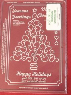 EASY EMBOSSING TEMPLATE 3135E - SWIRLY CHRISTMAS TREE          Easy Embossing Template - Swirly Christmas Tree. Use a small ball tool to create beautiful festive cards and decorations.  Simply place the parchment over the template and follow the lines with a ball tool. PCA recommend lubricating the parchment with a tumble dryer sheet before embossing.