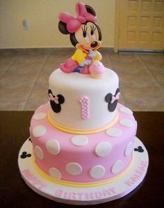 Baby Minnie Birthday Cake