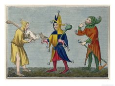 We put this medieval print and its companion in the Private Double Double at the Seton Hotel. Medieval Jester, Medieval Party, Medieval Life, Jester Costume, Jester Hat, Court Jester, Renaissance, Medieval Paintings, Art Vintage