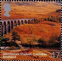 Glenfinnan Viaduct in Lochaber, Scotland. Postage stamp issued by Great Britain on July 15,2003 to commemorate Scottish scenery.