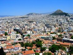 Athens, Greece - view from the Acropolis looking East towards Mount Lycabettus, the highest point in the city