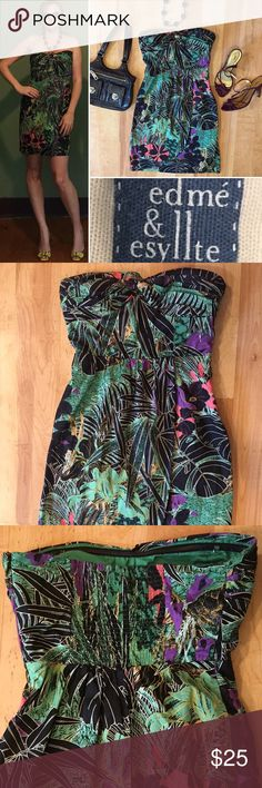 Anthropologie Edme and Esyllte dress. Size 0 Anthropologie Edme and Esyllte tropical dress. Zips down. Rouched in the back for stretch. Size 0. In perfect condition. Anthropologie Dresses Mini