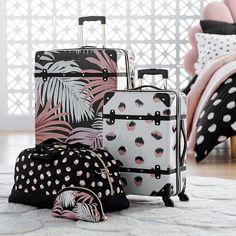 Emily & Meritt Hard-Sided Desert Palm Trunk Checked Spinner - Backpacks + Luggage - Luggage + Duffle Bags The Emily & Meritt Hard-Sided Desert Palm Trunk Checked Spinner Best Travel Luggage, Cute Luggage, Carry On Luggage, Travel Bags, Teen Luggage, Luggage Bags, Cute Suitcases, Emily And Meritt, Cute Car Accessories
