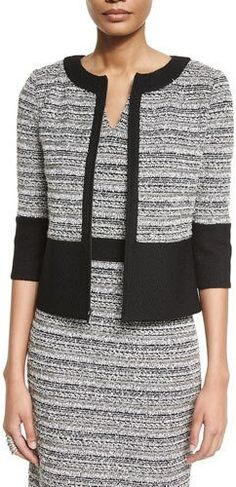 St. John Collection Laponche Knit 3/4-Sleeve Jacket