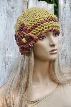 Knitted flower hat Knitted Beanie Mustard hat Women's by Degra2