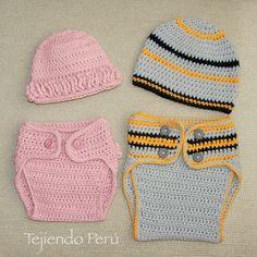 Hicimos un conjunto de cobertor de pañal y gorro para niñas y otro para niños (pueden intercambiar las tallas :) English subtitles: crochet diaper cover and beanie for babies!