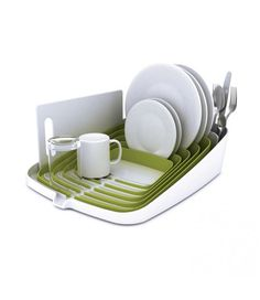 15 Creative Dish Drainers and Modern Dish Racks. Rack Design, E Design, Plan Incliné, Draining Board, Steel Kitchen Sink, Kitchen Dining, Green Kitchen, Kitchen Decor, Kitchens