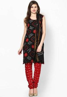 Beautiful Red Black Bandhej Dress Material