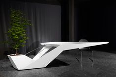 Loved this desk with a mini tree sideby ! Office Table Design, Corporate Office Design, Modern Office Design, Office Furniture Design, Office Interior Design, Office Interiors, Geometric Furniture, Counter Design, Concrete Furniture