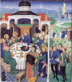 Jesus dining at house of Zacchaeus