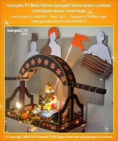 Amit Rede Page on Ganpati.TV where all Ganpati festival decoration pictures and videos are shared. Flower Decoration For Ganpati, Eco Friendly Ganpati Decoration, Ganpati Decoration Design, Gauri Decoration, Mandir Decoration, Ganapati Decoration, Diwali Decorations At Home, Backdrop Decorations, Festival Decorations