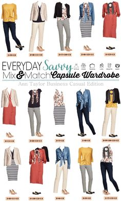 Includes pop of color, florals … Fun Ann Taylor Business Casual capsule wardrobe. Includes pop of color, florals and stripes along with the basics. Mix Match Outfits, Cute Outfits, Fashionable Outfits, Dressy Outfits, Mode Ab 50, Style Personnel, Business Casual Outfits, Business Attire, Business Formal