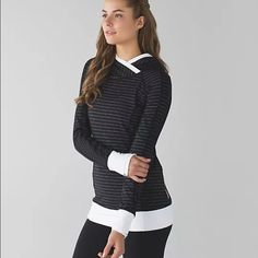 Nwt Lululemon think fast pullover pin stripe 2 Brand new completely sold out everywhere Lululemon pin stripe pullover hoodie think fast! This one is in a size 2 and brand new and you cannot find them anywhere!! lululemon athletica Tops Sweatshirts & Hoodies