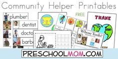 Free Community Helper Printables from Preschool Mom!  Wordwall Cards, Classroom Charts, Service Badges, File Folder Games, Bookmarks, Thank You cards and more!