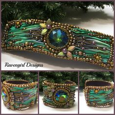 BOHEMIAN SPIRIT Bead Embroidered Shibori Silk Cuff made by RAVENGIRL DESIGNS on Facebook