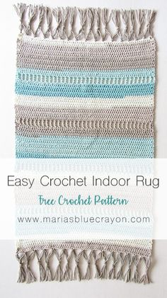 Crochet Indoor Rug | Free Crochet Rug Pattern | Free Crochet Mat Pattern | DIY Beach Rug | Rug with Fringe Tassels | Caron Cotton Cakes | Maria's Blue Crayon