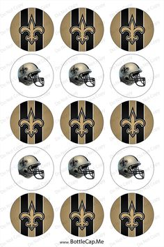 "NFL Football New Orleans Saints 1"" 4x6 bottle cap images - 1 inch rounds graphics, Digital Printable Bottle Cap Images File. $2.00, via Etsy."