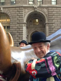 The time they went on an adventure together to pose with this bull and Patrick made that face in the back. | 22 Times Patrick Stewart And Ian McKellen Proved They Are The Greatest Best Friends Of 2013