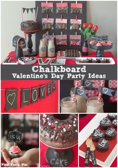 Chalkboard + chocolate Valentine's Day party ideas, also known as a chalklate (chalk + chocolate) party! Such a cute and modern Valentine's day party idea from www.playpartypin.com! #OneSpotValentine #ad