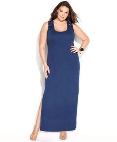 INC International Concepts Plus Size Sleeveless Lace-Back Maxi Dress - Plus Size Dresses - Plus Sizes - Macy's