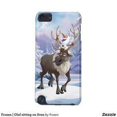 Frozen | Olaf sitting on Sven iPod Touch (5th Generation) Cover. Beautiful Disney Frozen items to personalize for yourself or as a gift to a friend. #disney #Frozen #birthday #gifts #personalize #shopping