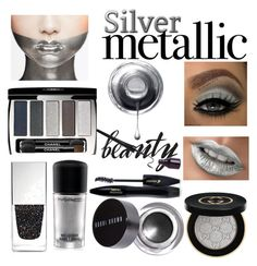 """""""Silver Metallic Beauty"""" by boutiquebrowser ❤ liked on Polyvore featuring beauty, MAC Cosmetics, Chanel, Lancôme, Bobbi Brown Cosmetics, Givenchy and Gucci"""
