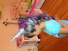 Unicorn hairstyle made for my daughters first crazy hair day at school