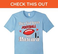 Mens This Gal Loves Football And Mascara Funny Football Shirt 3XL Baby Blue - Sports shirts (*Amazon Partner-Link)
