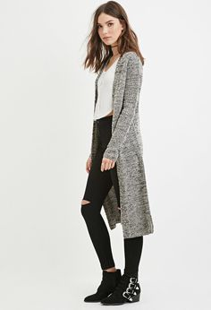 Marled Open-Front Longline Cardigan - forever21 - large