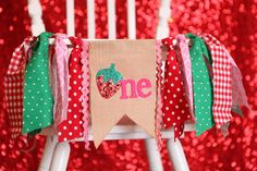 strawberry birthday party banner red green and pink first birthday one highchair high chair banner summer sweet bunting cake smash garland by PippaStitchShop on Etsy https://www.etsy.com/listing/270518103/strawberry-birthday-party-banner-red