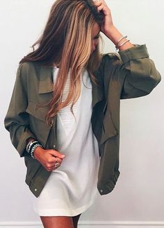 Olive green + white dress.