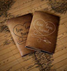 Items similar to Passport cover - Leather passport cover - Passport holder - Passport case - Personalized passport cover - Live love travel on Etsy Passport Holders, Passport Wallet, Passport Cover, Notebook Cover Design, Handmade Leather Wallet, Tips & Tricks, Diy Sewing Projects, Wanderlust, Handmade Books
