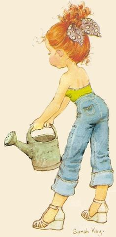 Sarah Kay: Tall girl with watering can