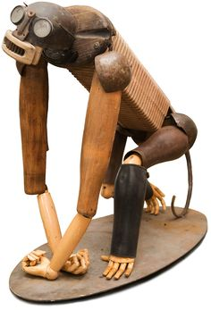 by Miquel Aparici. Animalarium: Bric-à-brac Creatures Found Object Art, Found Art, Primates, Monkey Art, 3d Figures, Recycled Art, Recycled Materials, Assemblage Art, Weird Art
