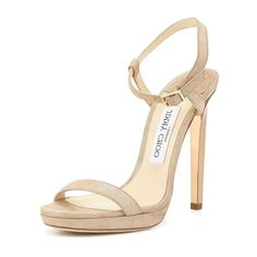 Jimmy Choo Claudette Nude Shimmery Pumps, Women's